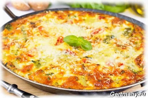 Способ приготовления фриттата - итальянский омлет с грибами, сыром